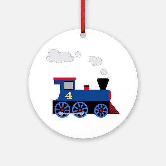 train age 4 blue black Round Ornament