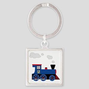 train age 2 blue black Square Keychain