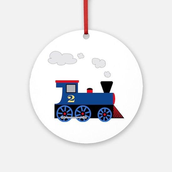 train age 2 blue black Round Ornament