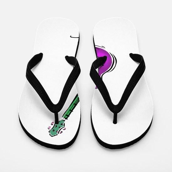 Guitar purple green shaded graphic Flip Flops