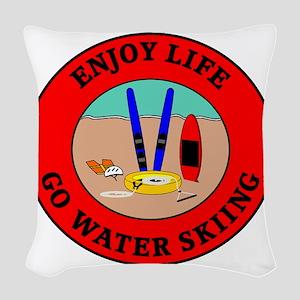 waterski2 Woven Throw Pillow