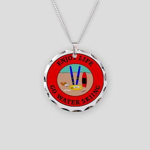 waterski2 Necklace Circle Charm