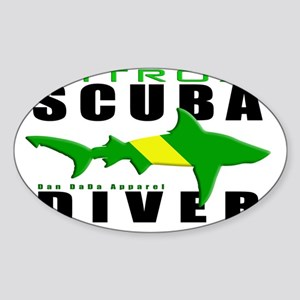 Scuba Diver Shark NITROX 6.5x10 4BL Sticker (Oval)