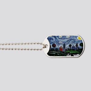 thinking of stars large poster Dog Tags