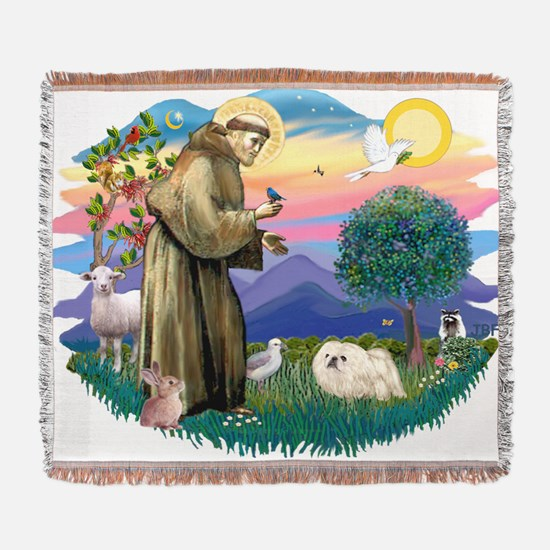 The Saint - Pekingese (whtie) Woven Blanket