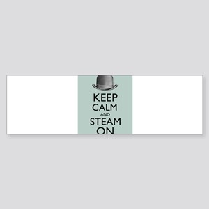 Keep Calm and Steam On Steampunk Derby Hat Bumper