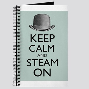 Keep Calm and Steam On Steampunk Derby Hat Journal