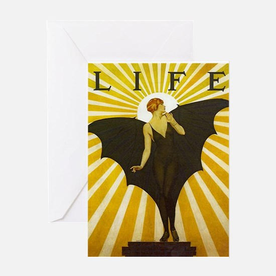 Art Deco Bat Lady Pin Up Flapper Greeting Cards
