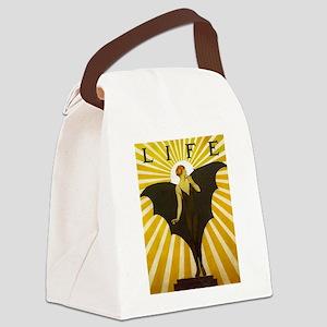 Art Deco Bat Lady Pin Up Flapper Canvas Lunch Bag
