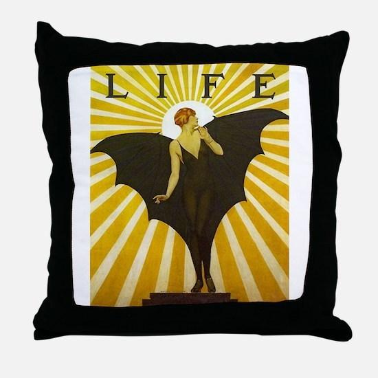 Art Deco Bat Lady Pin Up Flapper Throw Pillow
