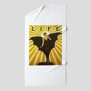 Art Deco Bat Lady Pin Up Flapper Beach Towel