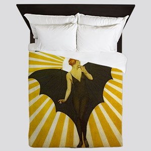 Art Deco Bat Lady Pin Up Flapper Queen Duvet