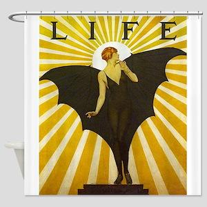 Art Deco Bat Lady Pin Up Flapper Shower Curtain