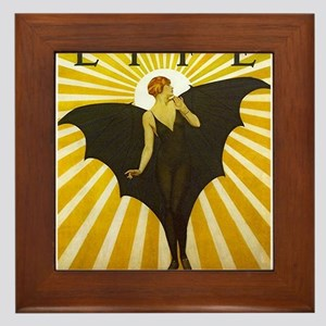 Art Deco Bat Lady Pin Up Flapper Framed Tile