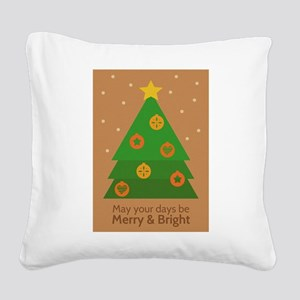 Merry and Bright with Christmas Tree Square Canvas