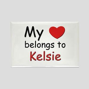 My heart belongs to kelsie Rectangle Magnet