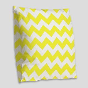 Yellow Chevron Pattern Burlap Throw Pillow