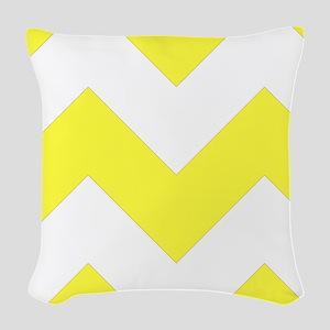 Yellow Chevron Pattern Woven Throw Pillow