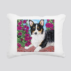 Corgi with Flowers Rectangular Canvas Pillow