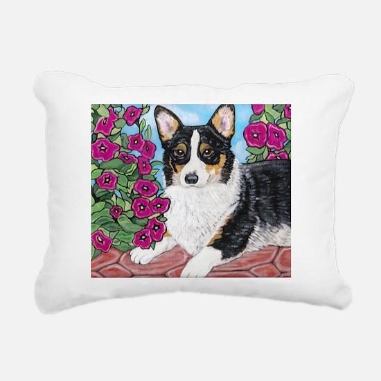 Corgi with Flowers Rectangular Canvas Pillow