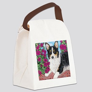 Corgi with Flowers Canvas Lunch Bag