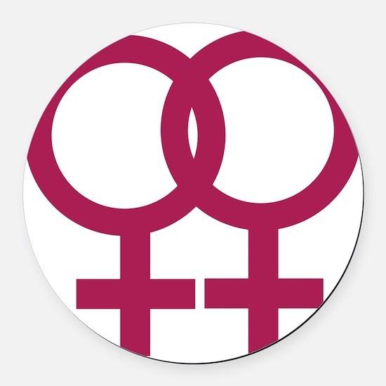 lesbian_signs_1c Round Car Magnet