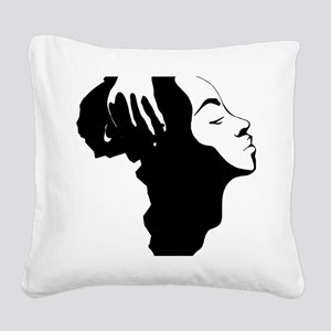 Africa and Woman Square Canvas Pillow