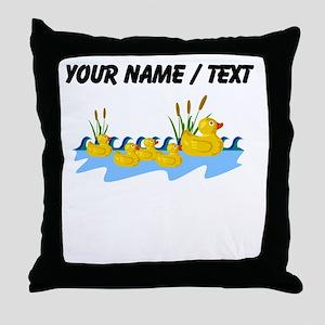 Custom Rubber Duck Family Throw Pillow