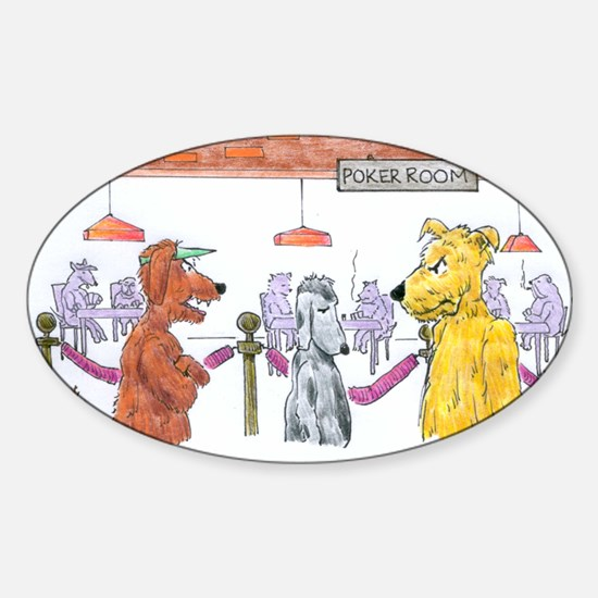 Poker Playing Dogs Sticker (Oval)
