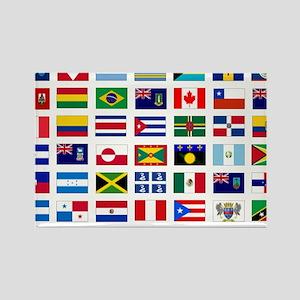 America flags tile Rectangle Magnet