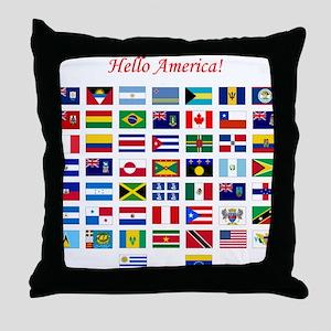 America flags tile Throw Pillow