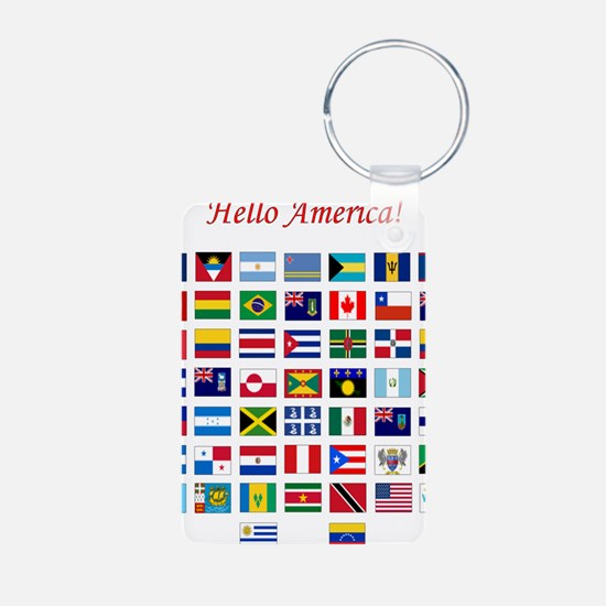 America flags light tee Aluminum Photo Keychain