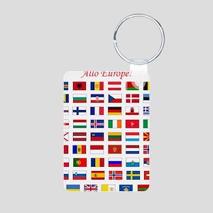 European Flags_light tee Aluminum Photo Keychain