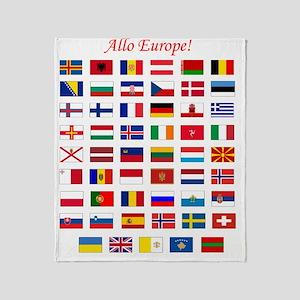 European Flags_dark tee Throw Blanket
