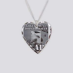 2-Government Jobs Program Necklace Heart Charm