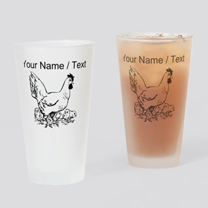 Custom Hen Sketch Drinking Glass