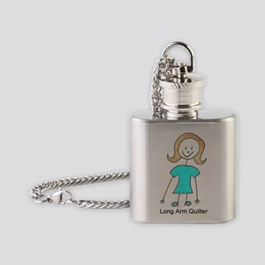 stick quilter w text lg Flask Necklace