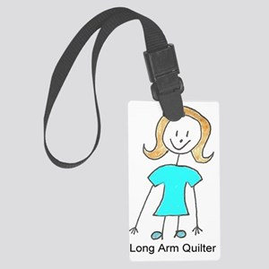 stick quilter w text Large Luggage Tag