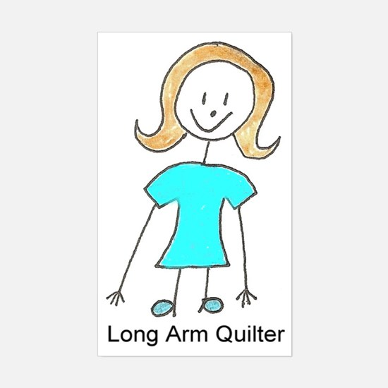 stick quilter w text Sticker (Rectangle)