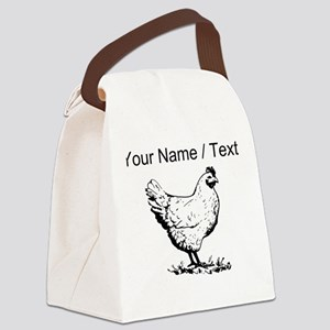 Custom Chicken Sketch Canvas Lunch Bag