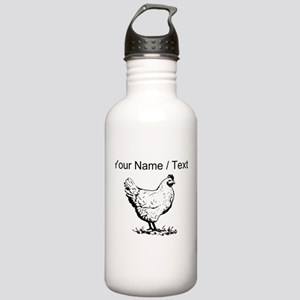 Custom Chicken Sketch Water Bottle