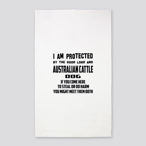 I am protected by the good lord and Austr Area Rug