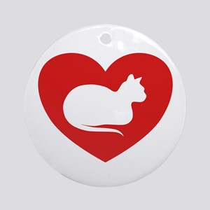 White Cat Love Ornament (Round)