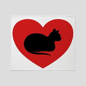 White Cat Love Throw Blanket