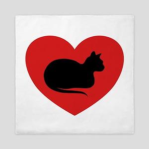 White Cat Love Queen Duvet