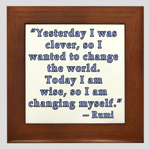Rumi Quote on Change Framed Tile