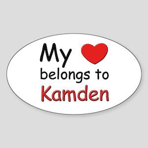 My heart belongs to kamden Oval Sticker