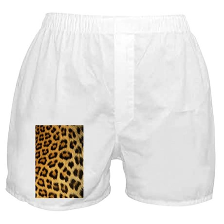 A leopard print on Boxer Shorts
