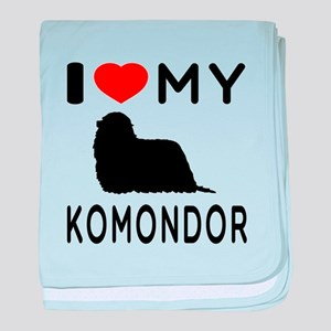 I Love My Dog Komondor baby blanket