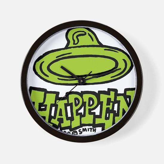 condom_happen_left_green Wall Clock